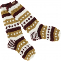 Hand knitted sheep wool socks, Nepal socks - caramel