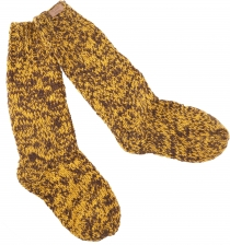 Hand knitted sheep wool socks, house socks, Nepal socks - yellow/..