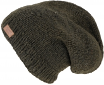 Beanie Cap, Nepal Knitted Cap - olive green