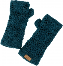 Crocheted cuffs floral, arm warmers made of new wool, wrist warme..