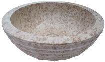 Solid round marble top mounted washbasin, wash bowl, natural ston..