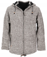 Wool cardigan from Nepal, warm lined cardigan - grey mottled