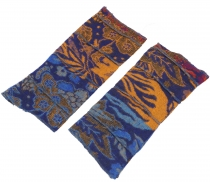Patchwork wrist warmers, Ethno Goa arm warmers - blue/colorful