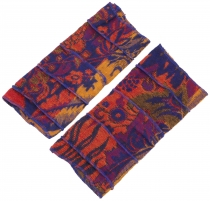 Patchwork wrist warmers, Ethno Goa arm warmers - colorful