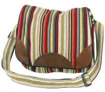 Woven ethno shoulder bag, Nepal bag - red/beige
