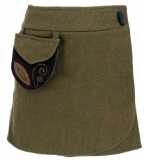 Embroidered wool felt wrap skirt Cacheur - olive green
