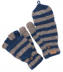 Hand knitted gloves, striped folding gloves Nepal, wool gloves - ..