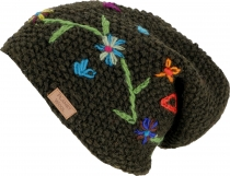 Wool beanie with flower embroidery, Nepal cap - dark olive
