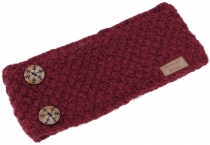 Woollen knitted browband with pretty snowflake buttons, hand-knit..