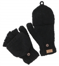 Gloves, hand knitted folding gloves, wool gloves plain - black