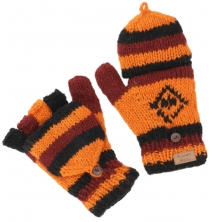 Hand knitted gloves, folding gloves Nepal, wool gloves - orange
