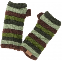 Striped cuffs from Nepal, hand knitted new wool wrist warmers - o..