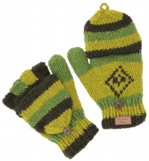 Hand knitted gloves, folding gloves Nepal, wool gloves - green
