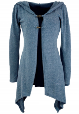 Long cardigan, knitted coat with wide hood - dove blue