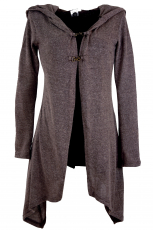 Long cardigan, knitted coat with wide hood - cappuccino