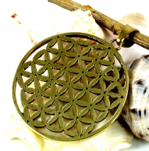 Flower of Life brass pendant 4 cm