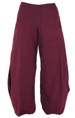 Wide Cord Pluderhose - wine red
