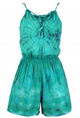 Short airy batik overall in hippiestyle - turquoise