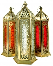 Orientalische Messing/Glas Laterne in marrokanischem Design, Wind..