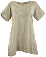 Embroidered indian hippie top, boho-chic blouse - beige