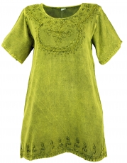 Embroidered indian hippie top, boho-chic blouse - lemon