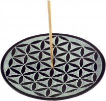 Indian incense holder made of soapstone, candle plate - flower of..