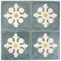 Cement tiles set, Ornament of 4 tiles, grey - Design 8