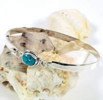 Boho silver bangle with semi-precious stone - turquoise