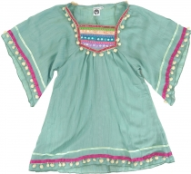 Poncho, girls` blouse, boho kids tunic, kids` dress - aqua
