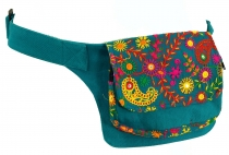 Embroidered belt bag, shoulder strap, ethno sidebag - turquoise