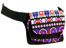 Embroidered belt bag, shoulder strap, ethno sidebag - black/blue