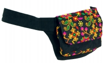 Embroidered belt bag, shoulder strap, ethno sidebag - black/pink