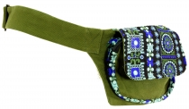 Embroidered belt bag, shoulder strap, ethno sidebag - olive green
