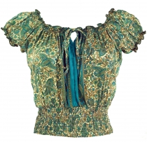 Blouse top Boho chic, hippie blouse - green