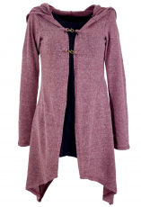 Long cardigan, knitted coat with wide hood - antique pink