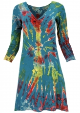Batik mini dress, knee length boho batik dress - petrol