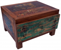 Flat chest of drawers, drawer cabinet made of recycled teak