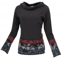 Hooded Boho Patchwork Shirt with shawl hood - black