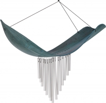Aluminium sound-chime, exotic wind chime - Palm leaf turquoise