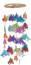 Round Shell Wind Chimes - Dolphin colorful