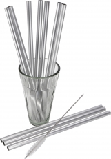 Metal drinking straws with cleaning brush 10 pieces