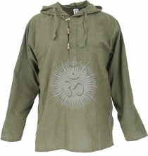 Yoga shirt, Goa shirt Om, sweatshirt - olive/grey