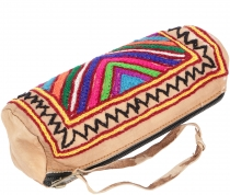 Embroidered indian leather pencil case - unique