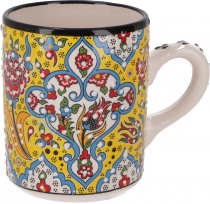 Handpainted Turkish coffee mug, oriental coffee cup - yellow