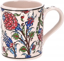 Handpainted Turkish coffee mug, oriental coffee cup - white