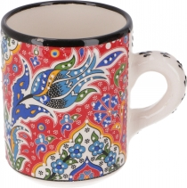 Handpainted Turkish coffee mug, oriental coffee cup - red