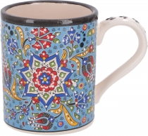 Hand painted turkish coffee mug, oriental coffee cup - light blue