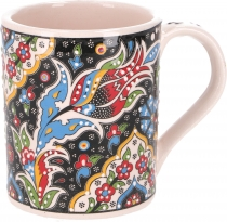 Handpainted Turkish coffee mug, oriental coffee cup - black