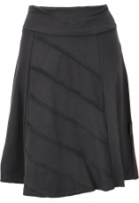 Mini skirt with overlook, A-line skirt in organic quality - black