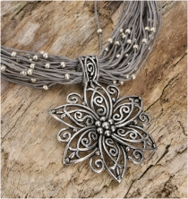 Boho necklace, costume jewellery chain - grey